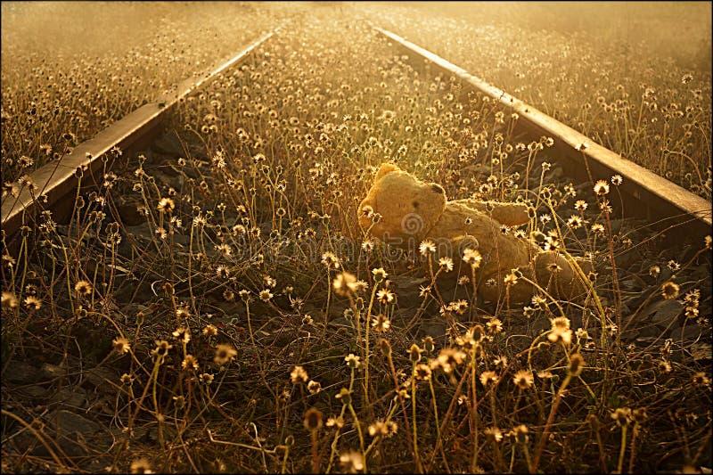 Verloren teddybeer op verlaten spoorwegsporen stock fotografie