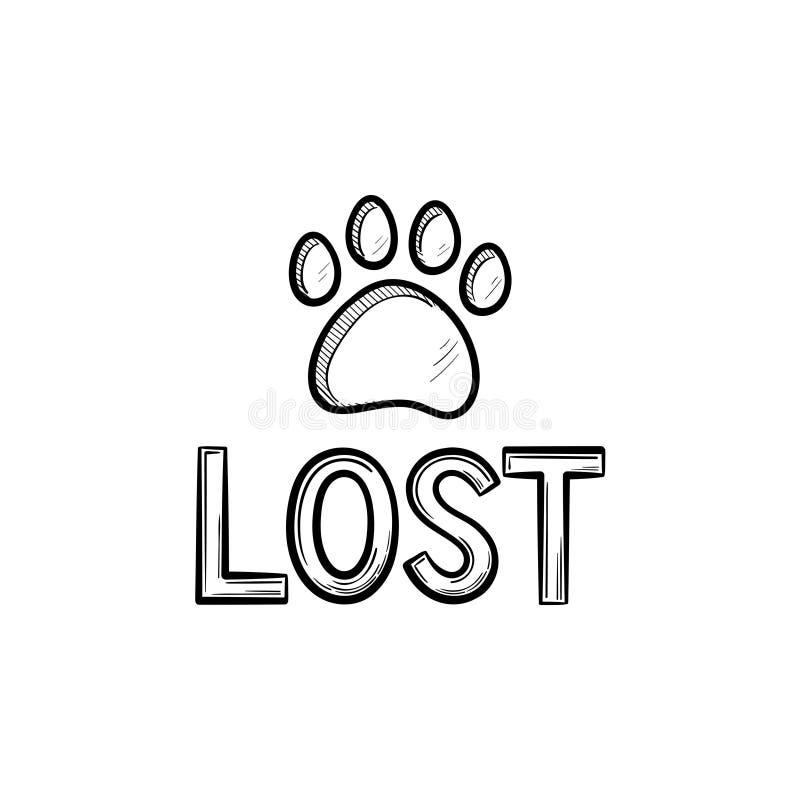 Verlorene Hundehand gezeichnete Entwurfs-Gekritzelikone stock abbildung