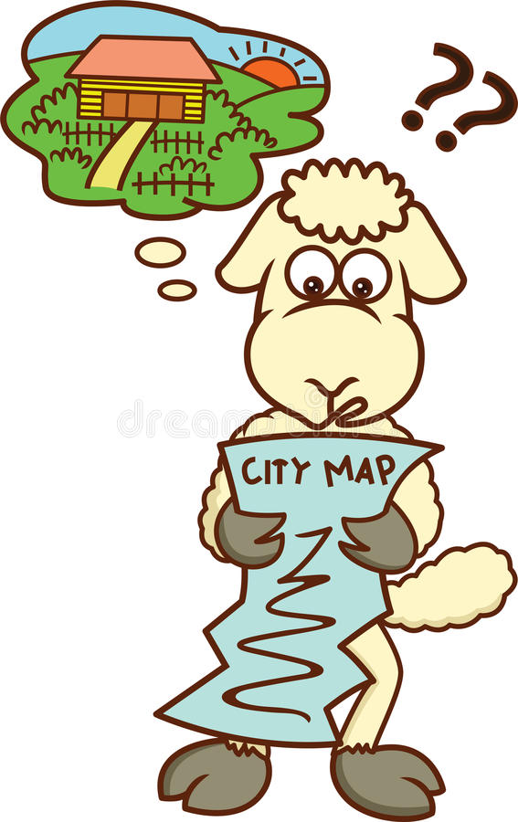 Verlorene Schafe, die Stadtplan-Karikatur betrachten stock abbildung