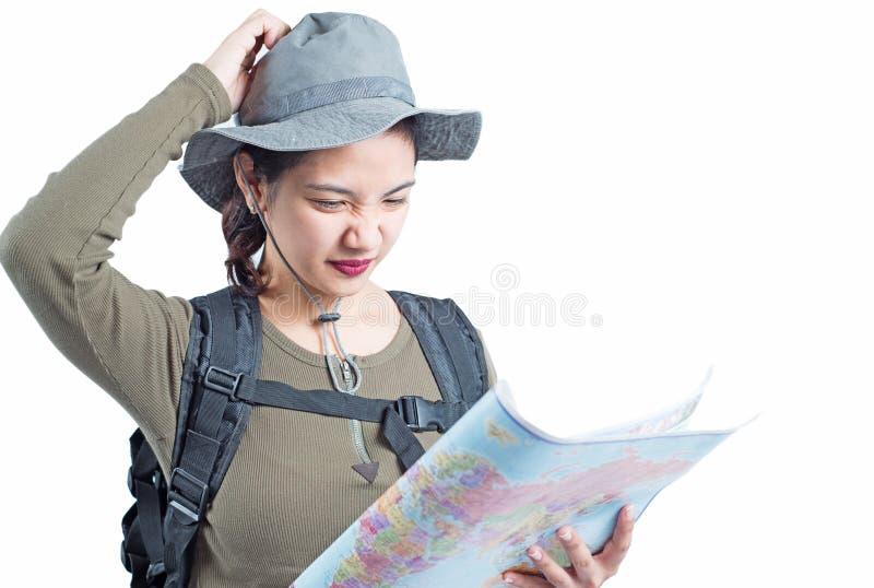 Verlorener Damenwanderer stockfoto