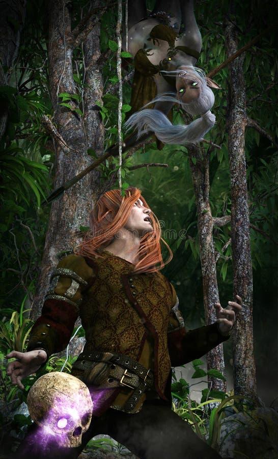 Verlorener Tempeldieb im Dschungel stock abbildung
