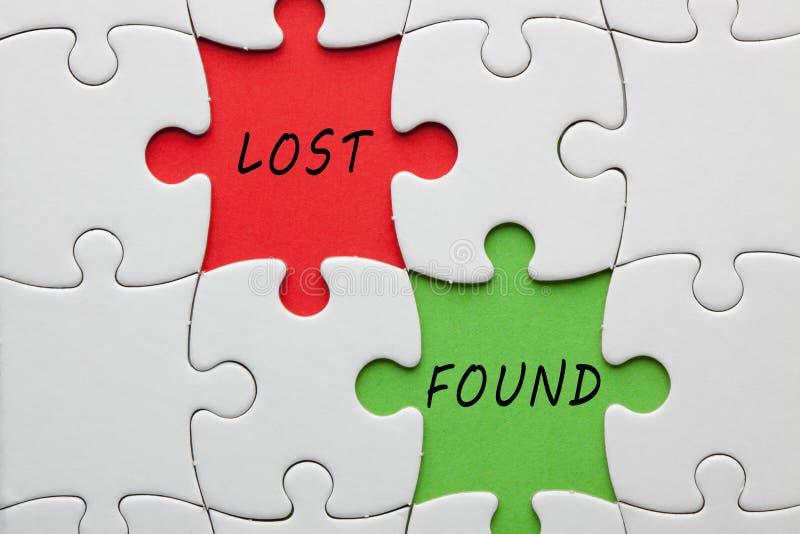 Verlorenes gefundenes Konzept lizenzfreies stockbild