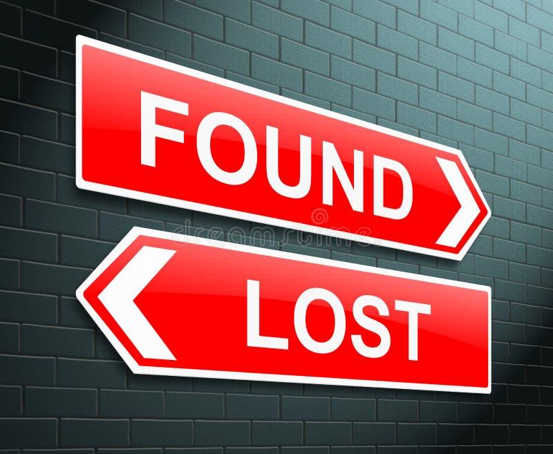 Verlorenes oder gefundenes Konzept. lizenzfreie abbildung