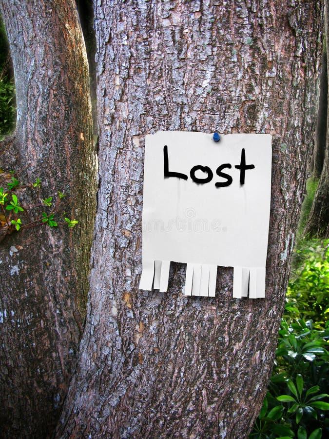 Verlorenes Zeichen lizenzfreies stockbild