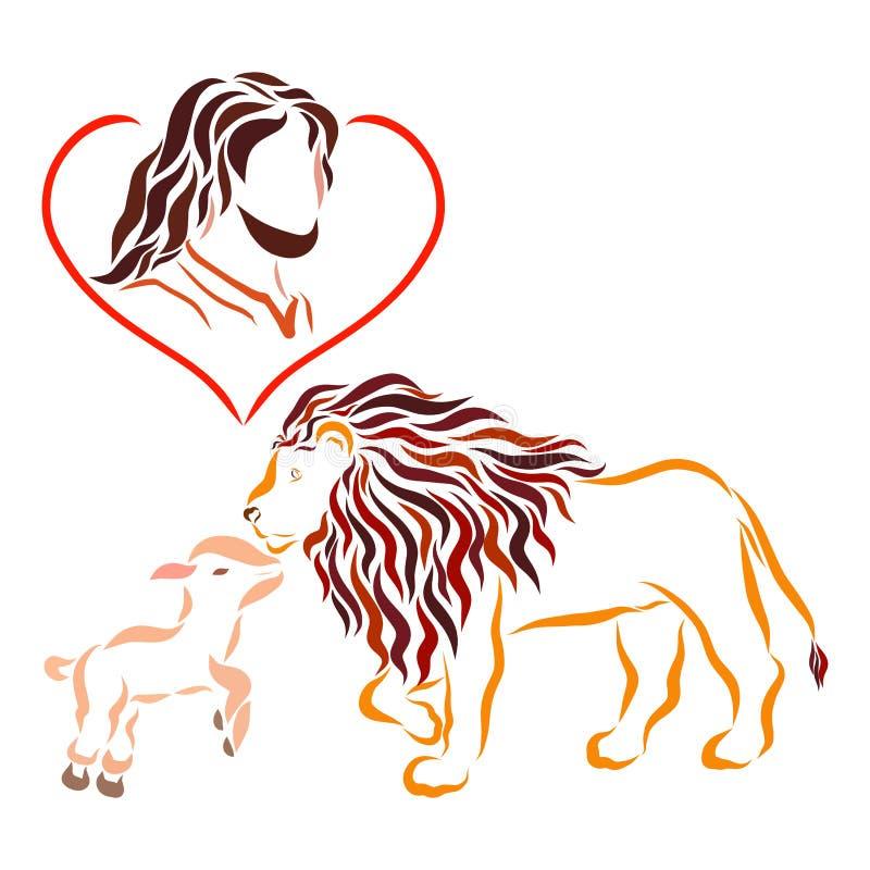 Verlosser, Lord Jesus, bescheiden Lam en koninklijke leeuw vector illustratie