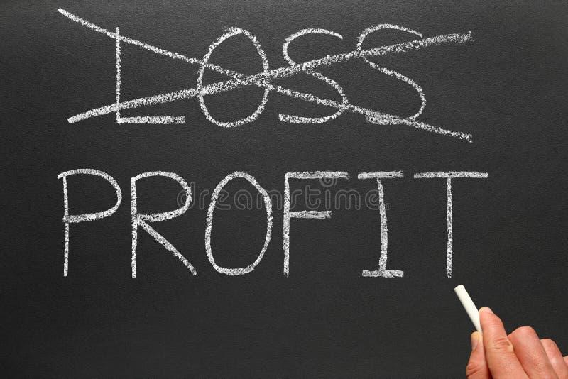 Verlust und das Schreiben des Profites heraus kreuzen. stockfoto
