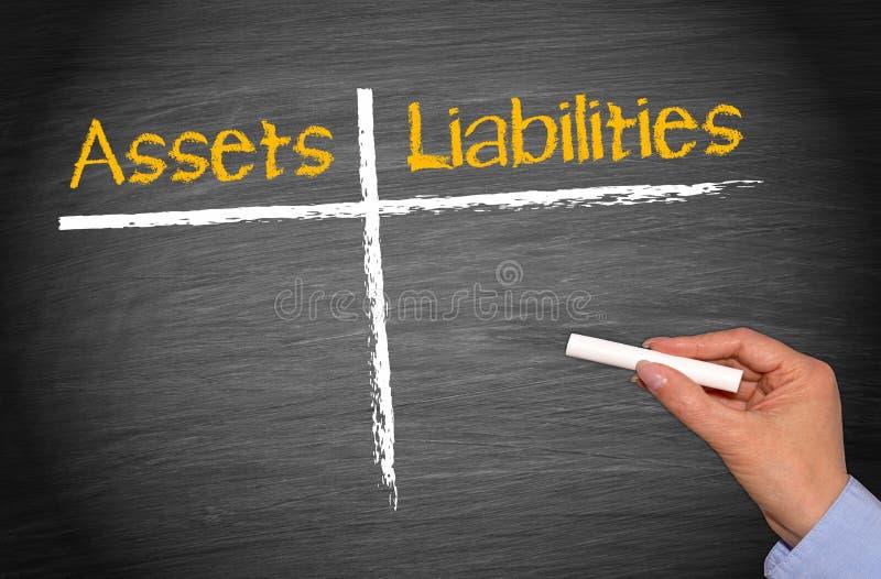 Vermögen und Schulden stockfoto