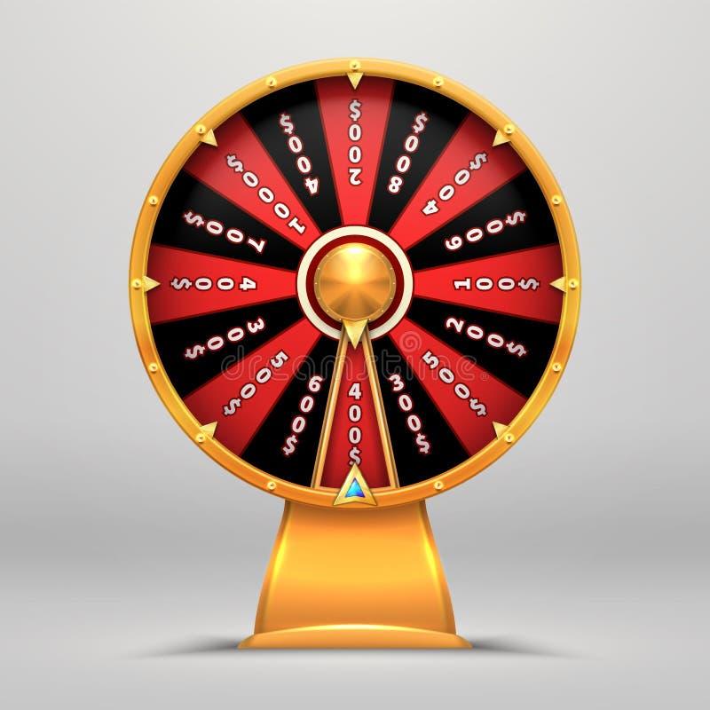 Vermögens-Rad Drehen drehende Bewegungsleute der Glückszahl Glückgegenstandvektor-Zeichenillustration des Pfeiles 3d Kasinospiel  vektor abbildung