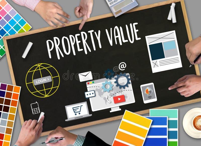 Vermögenswert, Geschäftsmann Property Value, Immobilien richtig vektor abbildung