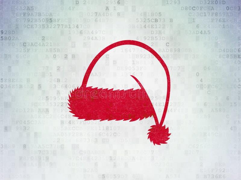 Vermaak, concept: Kerstmishoed op Digitale Gegevensdocument achtergrond royalty-vrije illustratie
