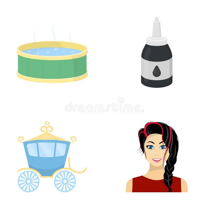 Vermaak, de kosmetiek, kapper en ander Webpictogram in beeldverhaalstijl make-up, brunette, businesscons in reeks royalty-vrije illustratie