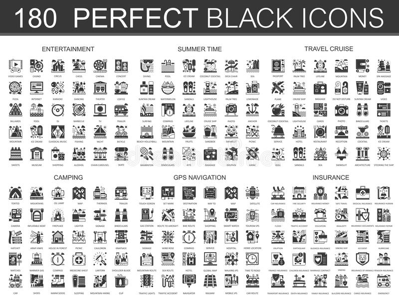 vermaak 180, de zomertijd, reiscruise, het kamperen, gps navigatie en symbolen van het verzekerings de klassieke zwarte miniconce royalty-vrije illustratie