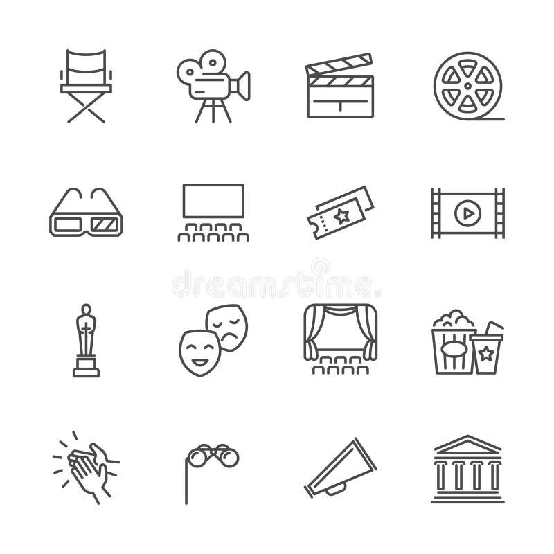Vermaak en prestatieslijn vectorpictogrammen Theater en bioskoopoverzichtssymbolen vector illustratie