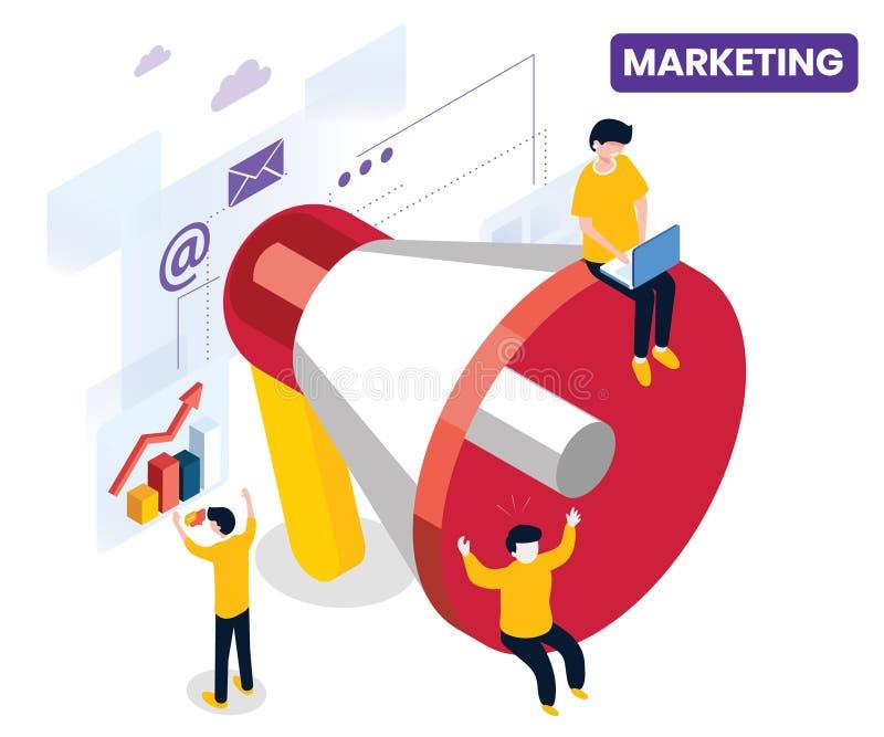 Vermarkten einer Firma durch eine Kampagne, um das Geschäft isometrische Grafik-Konzept zu wachsen stock abbildung