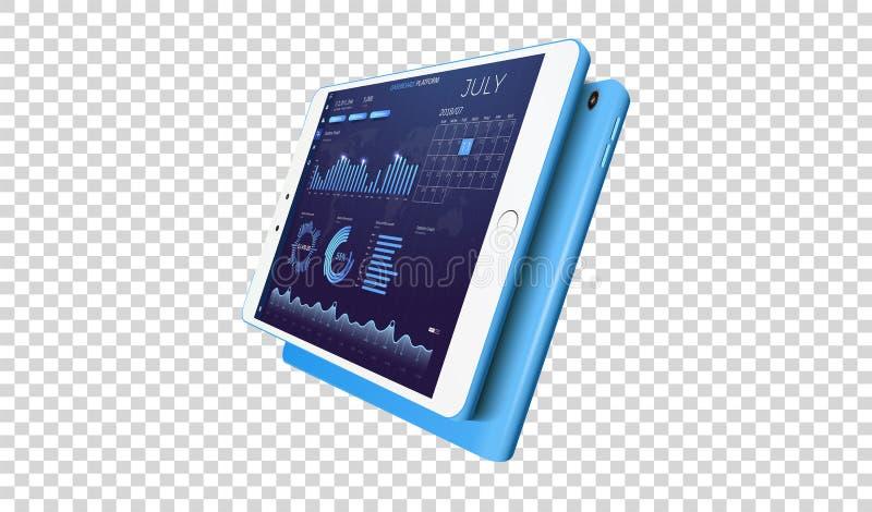 Vermarkten Sie APP-Vektorschnittstelle mit Geschäftsfinanzmarktdiagrammen und globalen Wirtschaftsdatendiagrammen vektor abbildung