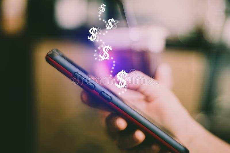 Vermarkten Sie Diagrammikonenschirm auf Lager des Smartphonehintergrundes E stockbilder