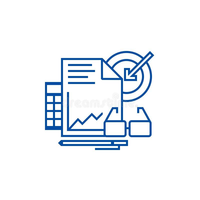Vermarktende Analyticslinie Ikonenkonzept Vermarktendes flaches Vektorsymbol des Analytics, Zeichen, Entwurfsillustration lizenzfreie abbildung