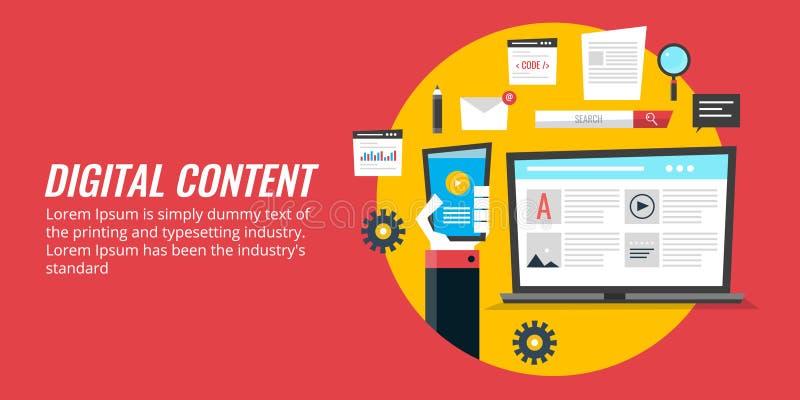 Vermarktende Digital-Medien, Förderung des digitalen Inhalts, Web-Inhalts-Strategie Flache Designvektorfahne
