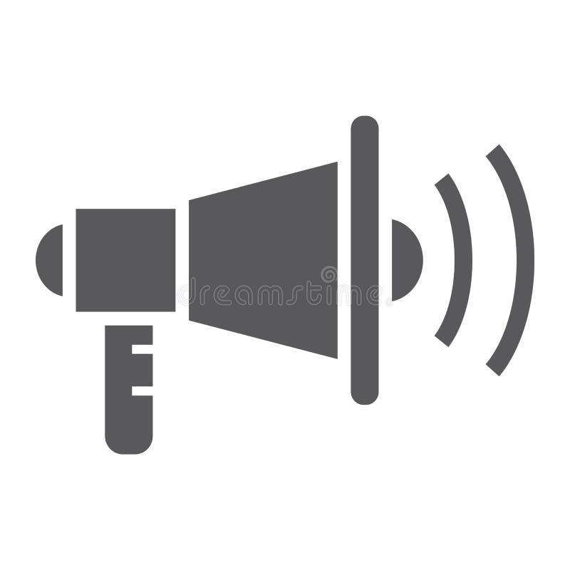 Vermarktende Glyphvirenikone, Anzeige und Medien, Megaphonzeichen, Vektorgrafik, ein festes Muster lizenzfreie abbildung