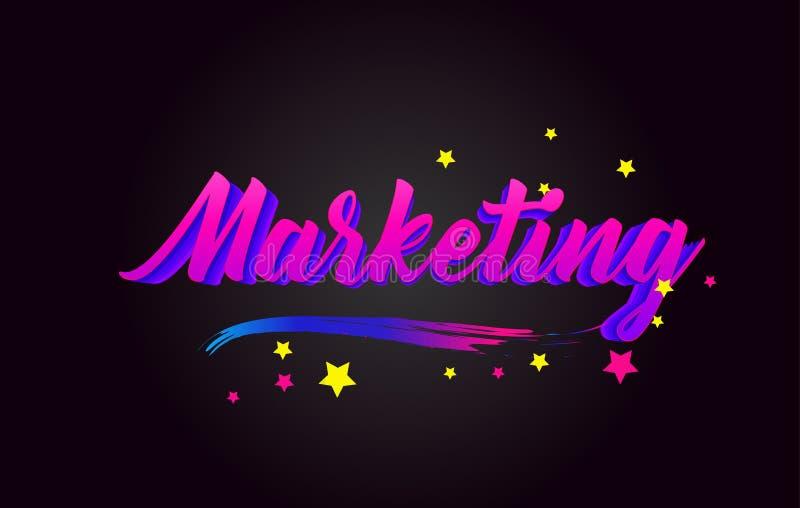 Vermarktende handgeschriebene beschriftende Typografie des Purpurs Wort für Firmenzeichen, Ausweis, Ikone, Karte, Postkarte, Logo lizenzfreie abbildung