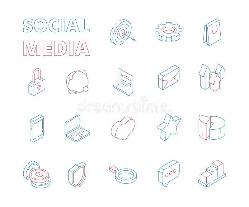 Vermarktende isometrische Ikone Mag digitale gesetzte Postdiagramme der Netzsocial media-Netzsymbole dünne Linie der Herznachrich lizenzfreie abbildung