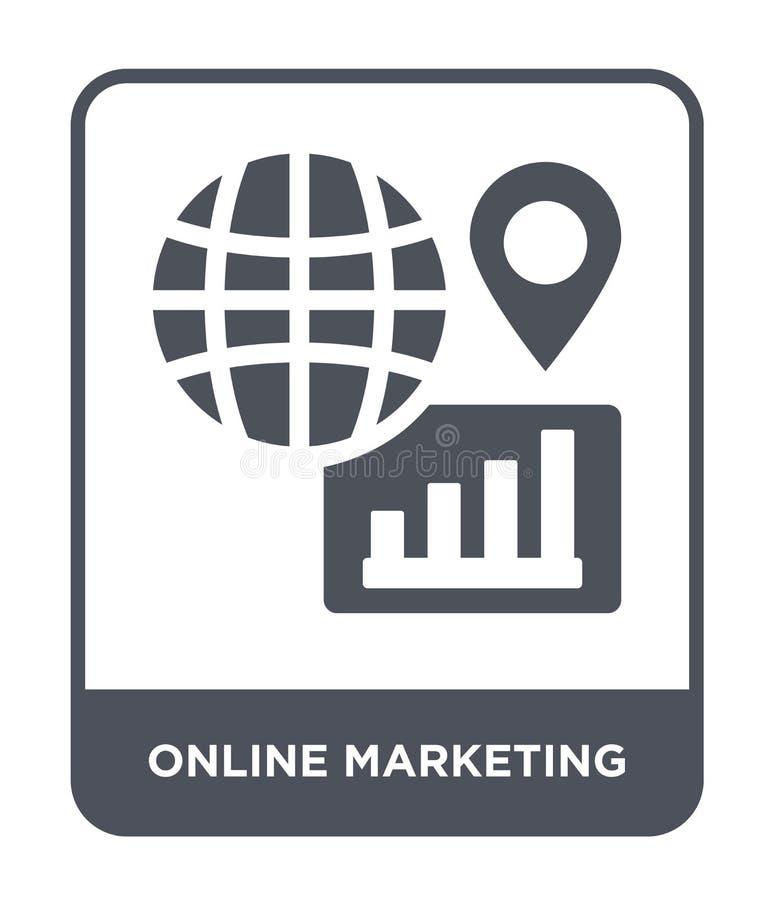 vermarktende on-line-Ikone in der modischen Entwurfsart vermarktende on-line-Ikone lokalisiert auf weißem Hintergrund Vermarktend lizenzfreie abbildung