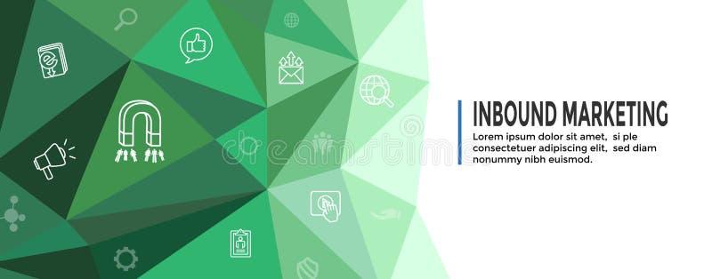 Vermarktende Netz-Inlandsfahne Digital mit Vektor-Ikonen mit CTA, Wachstum, SEO, usw. lizenzfreie abbildung