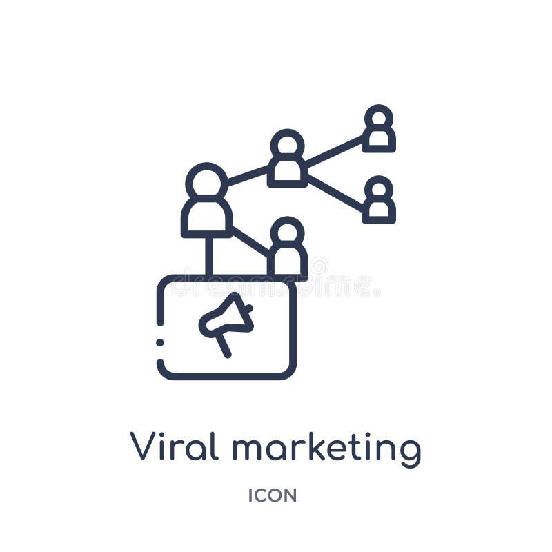 vermarktende Virenikone von der Suchmaschinen-Optimierungs-Entwurfssammlung Dünne Linie vermarktende Virenikone lokalisiert auf W lizenzfreie abbildung