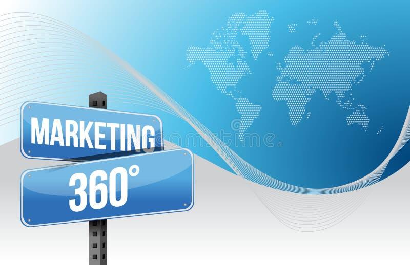 Vermarktender blauer Hintergrund mit 360 Geschäften Welt stock abbildung
