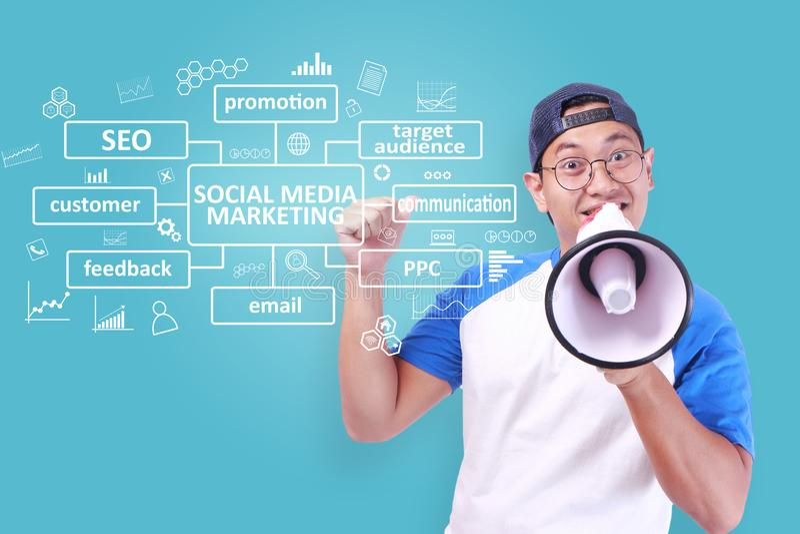 Vermarktendes Social Media, Motivwort-Zitat-Konzept lizenzfreies stockfoto