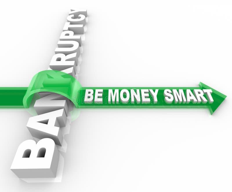 Vermeiden Sie Bankrott - Pfeil über Wort stock abbildung