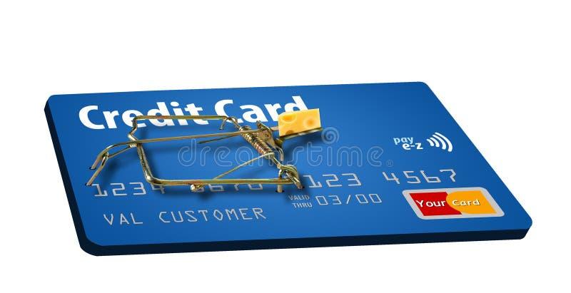 Vermeiden Sie Kreditkartefallen Eine angelockte Mausefalle macht diesen Punkt stock abbildung