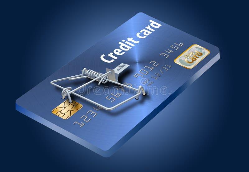 Vermeiden Sie Kreditkartefallen, wie diese, die wie eine Kreditkarte aussieht, die zu eine Mausefalle gemacht wird stock abbildung