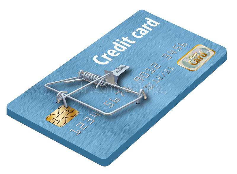 Vermeiden Sie Kreditkartefallen, wie diese, die wie eine Kreditkarte aussieht, die zu eine Mausefalle gemacht wird stockfotografie