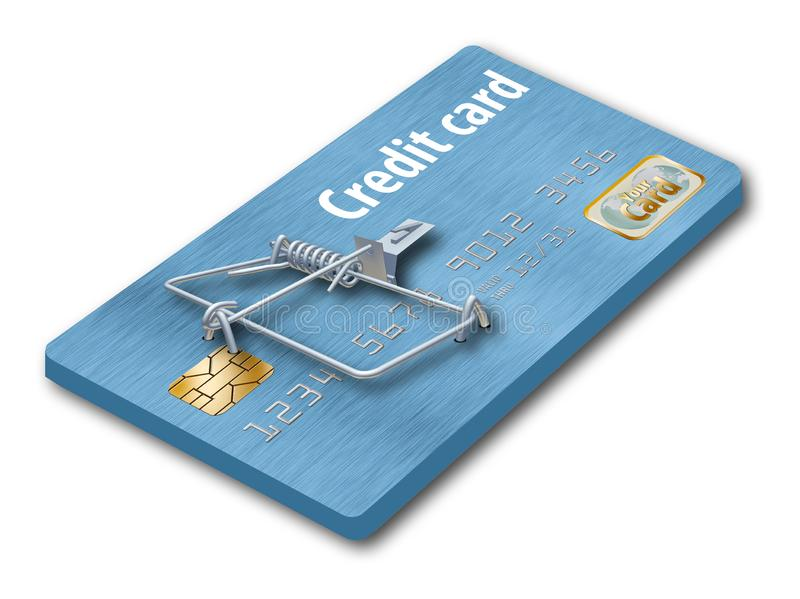 Vermeiden Sie Kreditkartefallen, wie diese, die wie eine Kreditkarte aussieht, die zu eine Mausefalle gemacht wird stockfotos