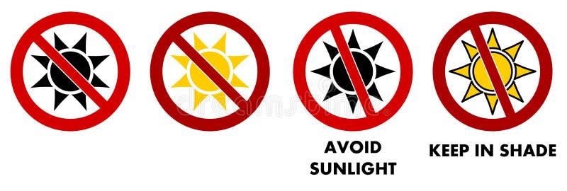 Vermeiden Sie, Sonnenlicht/halten Sie im Schattenzeichen Sun-Ikone mit rotem gekreuztem Kreis stock abbildung