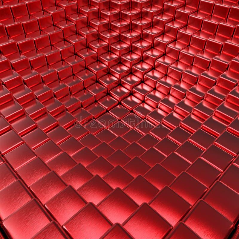 Vermelho abstrato fundo metálico escovado dos cubos 3D ilustração do vetor