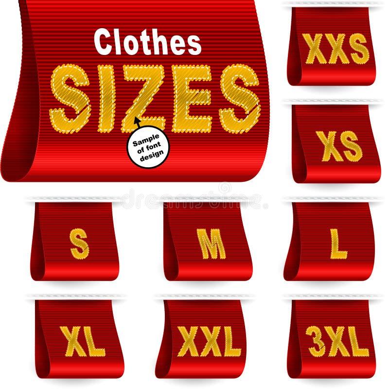Vermelho ajustado costurado etiqueta da etiqueta do mercado da etiqueta do tamanho da roupa ilustração royalty free