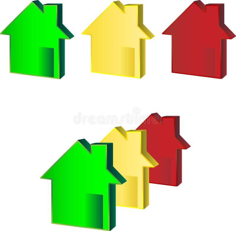 Vermelho amarelo verde das casas ilustração stock