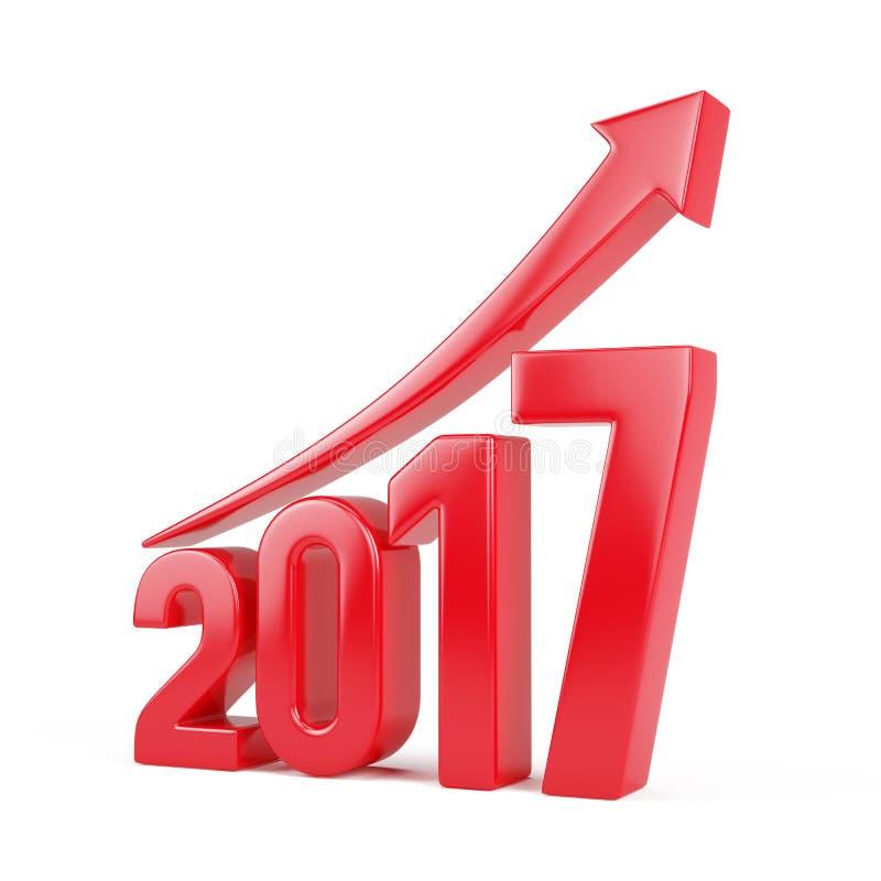 Vermelho 2017 anos com da seta conceito do crescimento acima - ilustração stock