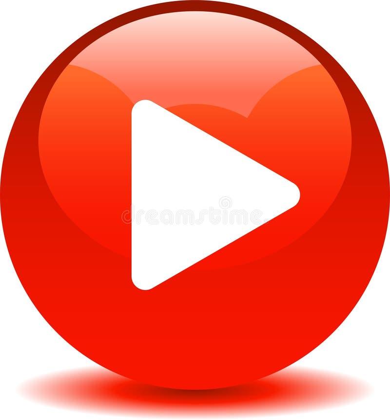 Vermelho audio do ícone da Web do botão do jogo ilustração do vetor