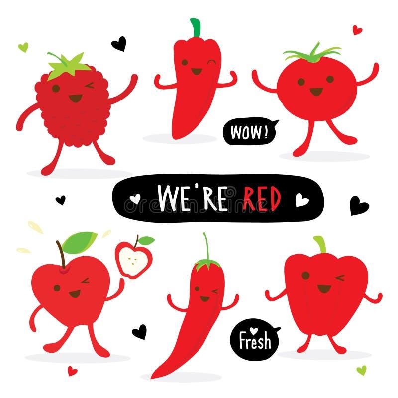 Vermelho bonito Chili Tomato Apple Strawberry Vetora da pimenta do grupo dos desenhos animados do vegetal e do fruto ilustração stock
