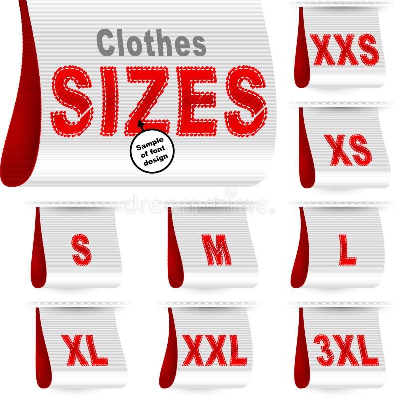 Vermelho branco ajustado costurado etiqueta da etiqueta do mercado da etiqueta do tamanho da roupa ilustração stock