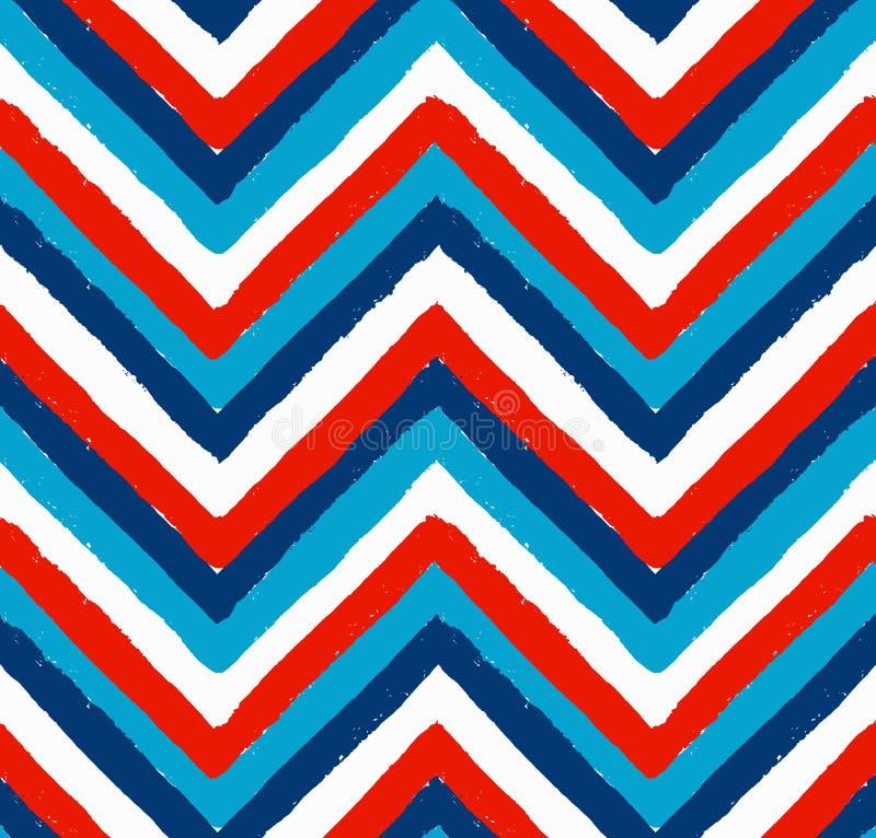 Vermelho branco azul teste padrão pintado de Chevron ilustração stock
