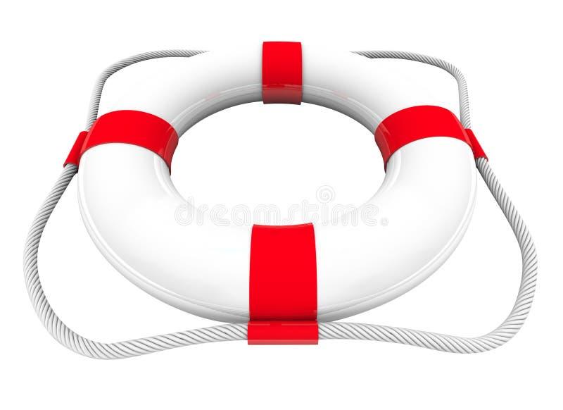 Vermelho branco da guarda costeira 3d da poupança SOS do salvamento da água do conservante de vida ilustração do vetor
