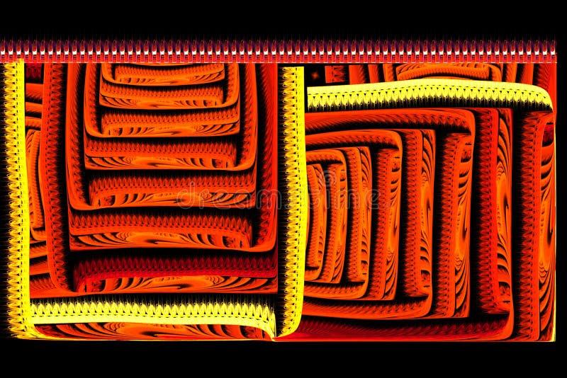 Vermelho brilhante do fractal quadrado abstrato no preto ilustração do vetor