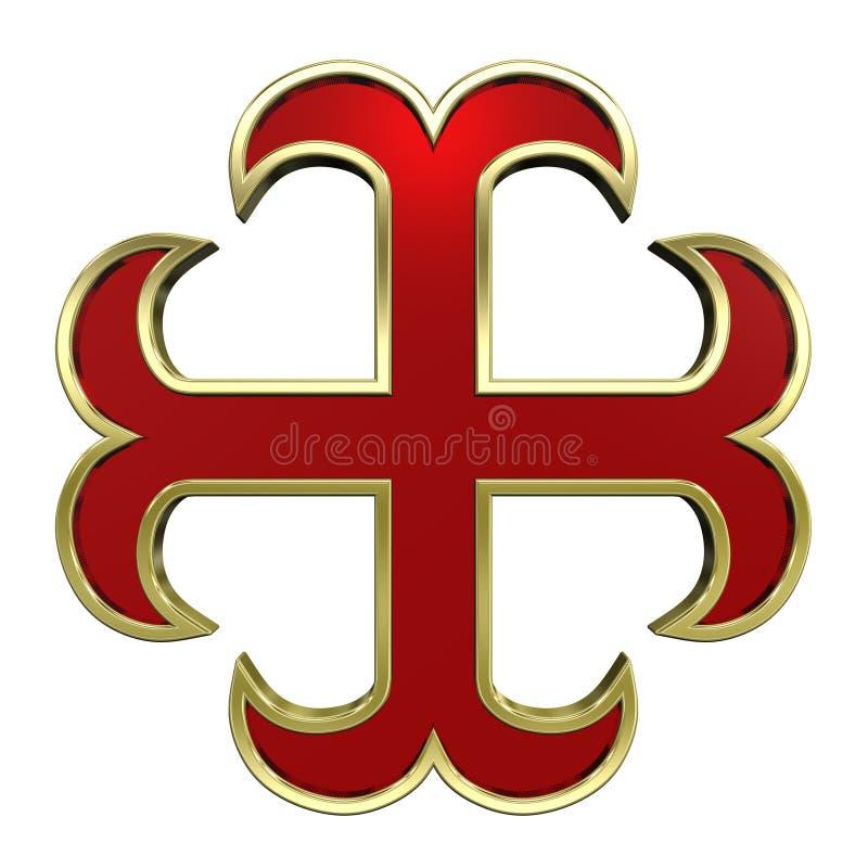 Vermelho com cruz heráldica do frame do ouro ilustração do vetor