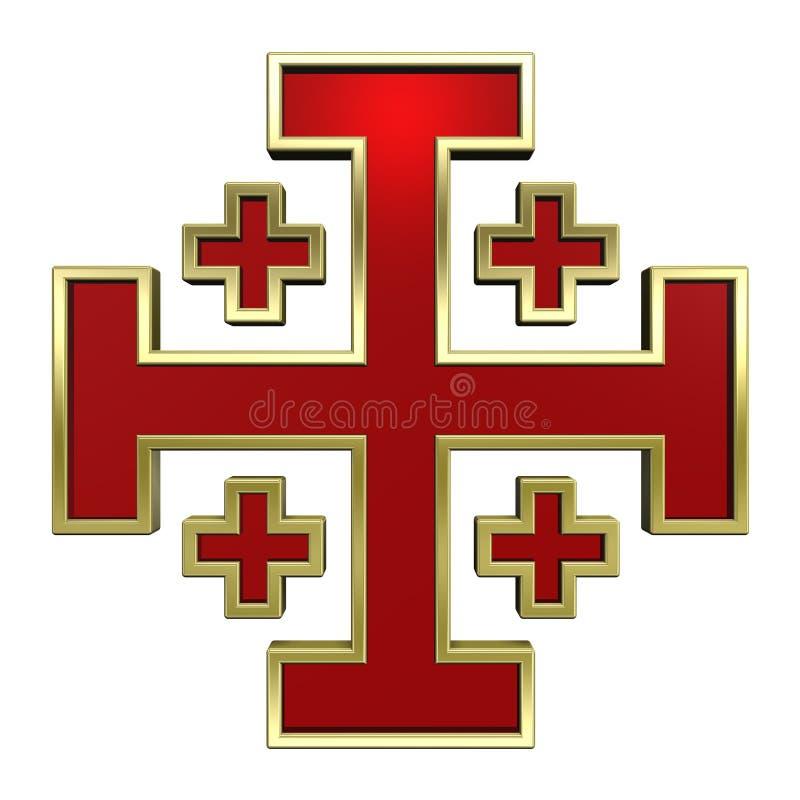 Vermelho com cruz heráldica do frame do ouro ilustração royalty free