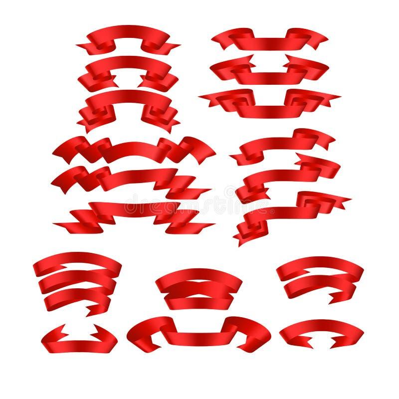 Vermelho com sombra e grupo da bandeira do vetor da fita do inclinação fotos de stock