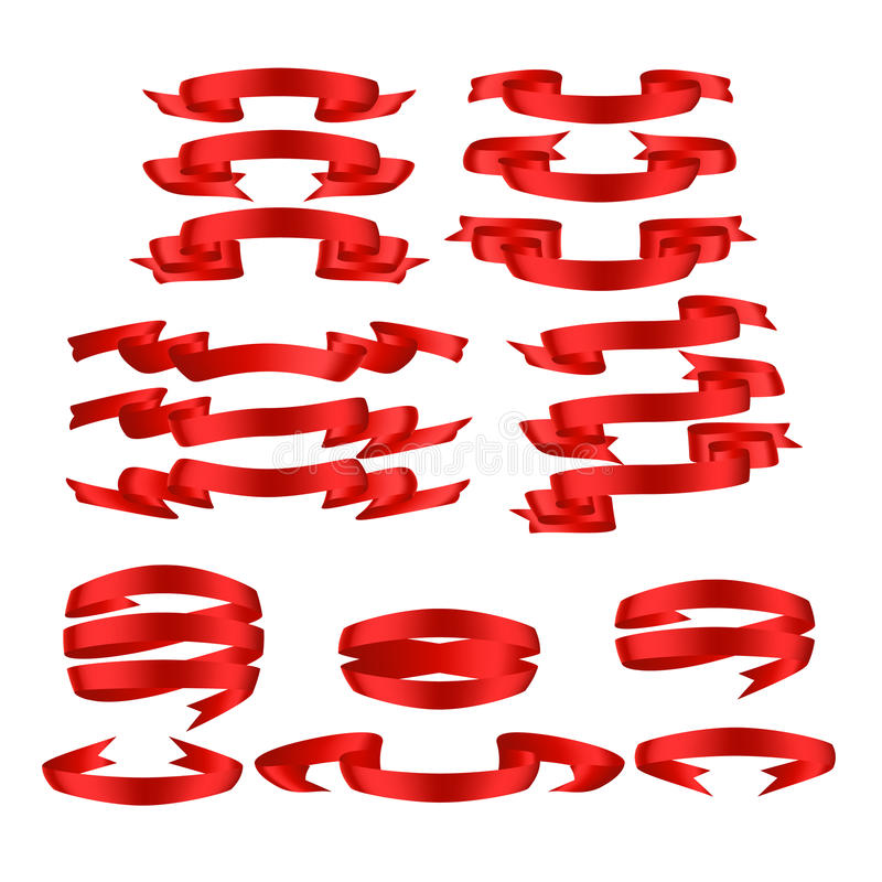 Vermelho com sombra e grupo da bandeira do vetor da fita do inclinação fotografia de stock